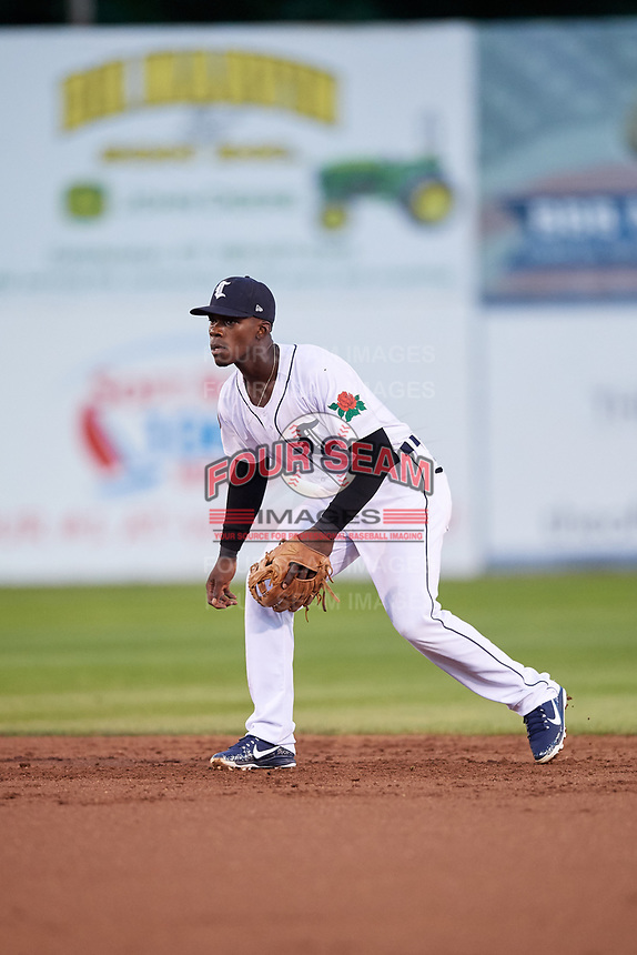 Connecticut Tigers second baseman Jeremiah Burks (28) during a game against the Hudson Valley Renegades on August 20, 2018 at Dodd Stadium in Norwich, Connecticut.  Hudson Valley defeated Connecticut 3-1.  (Mike Janes/Four Seam Images)
