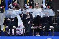 BOGOTÁ - COLOMBIA, 07-08-2018: Mauricio Macri, presidente de Argentina, Sebastian Piñera, presidente de Chile y Enrique Peña Nieto, presidente de Mexico, durante la ceremonia de juramento en donde Ivan Duque, toma posesión como presidente de la República de Colombia para el período constitucional 2018 - 22 en la Plaza Bolívar el 7 de agosto de 2018 en Bogotá, Colombia. / Mauricio Macri, president of Argentina, Sebastian Piñera, president of Chile and Enrique Peña Nieto, president of Mexico,  during the swearing ceremony where Ivan Duque, takes office to constitutional term as president of the Republic of Colombia 2018 - 22 at Plaza Bolivar on August 7, 2018 in Bogota, Colombia. Photo: VizzorImage/ Gabriel Aponte / Staff