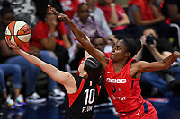 Washington, DC - Sept 17, 2019: Washington Mystics forward LaToya Sanders (30) tries to block lay up attempt from Las Vegas Aces guard Kelsey Plum (10) during WNBA Playoff semi final game between Las Vegas Aces and Washington Mystics at the Entertainment & Sports Arena in Washington, DC. The Mystics hold on to beat the Aces 97-95. (Photo by Phil Peters/Media Images International)