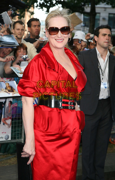 "MERYL STREEP.""Mamma Mia!"" world film premiere Odeon Cinema, Leicester Square, London, England..June 30th, 2008 .arrivals half length red shirt dress black waist belt sunglasses black waist belt clutch bag .CAP/DS.©Dudley Smith/Capital Pictures"
