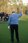 AUGUSTA, GA: APRIL 10 - Jack Nicklaus prepares to tee off the first tee during the first round of the 2014 Masters held in Augusta, GA at Augusta National Golf Club on Thursday, April 10, 2014.. (Photo by Donald Miralle)