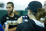 Petros Chrysochos of the Wake Forest Demon Deacons answers questions from the media following his win in the finals of the 2018 NCAA Men's Tennis Singles Championship at the Wake Forest Indoor Tennis Center on May 28, 2018 in Winston-Salem, North Carolina.  Petros Chrysochos defeated teammate Borna Gojo 6-3 6-3.  (Brian Westerholt/Sports On Film)