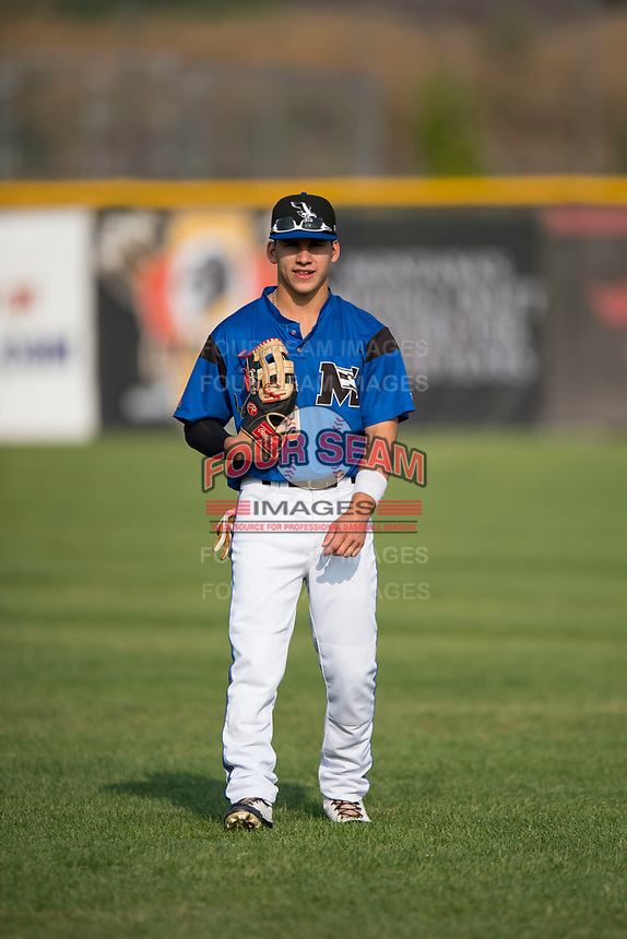Missoula Osprey outfielder Alek Thomas (19) warms up before a Pioneer League game against the Grand Junction Rockies at Ogren Park Allegiance Field on August 21, 2018 in Missoula, Montana. The Missoula Osprey defeated the Grand Junction Rockies by a score of 2-1. (Zachary Lucy/Four Seam Images)