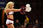 March 6, 2015; Las Vegas, NV, USA; Loyola Marymount Lions cheerleader performs against the Gonzaga Bulldogs during the first half of the WCC Basketball Championships at Orleans Arena.