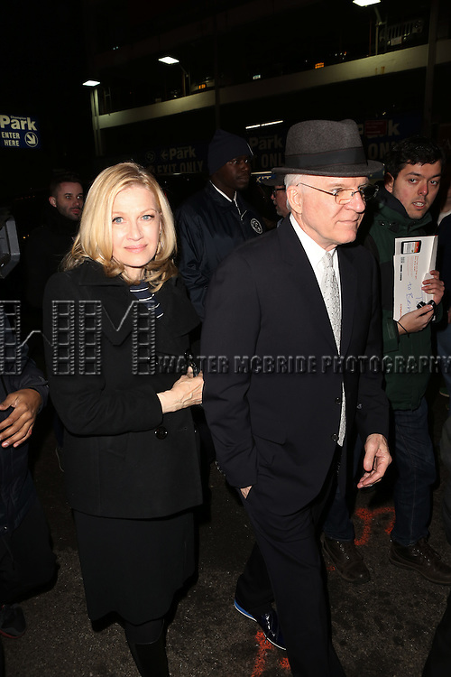 Diane Sawyer and Steve Martin attends the Re-Opening Night of 'It's Only A Play'  at the Bernard B. Jacobs Theatre on January 23, 2014 in New York City.