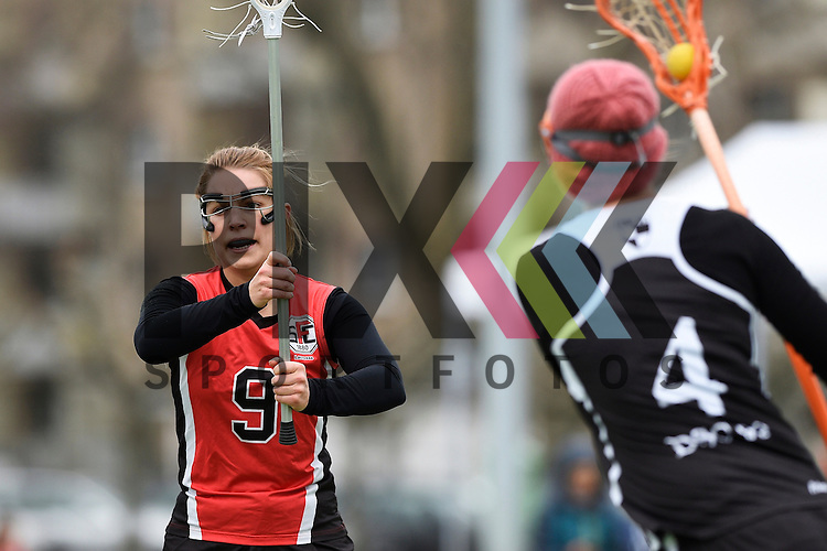 Frankfurt am Main, Germany, March 14: During the Damen 1. Bundesliga West Lacrosse match between SC 1880 Frankfurt and Duesseldorfer Hirschkuehe on March 14, 2015 at the SC 1880 Frankfurt in Frankfurt am Main, Germany. Final score 20-13 (13-8). Jaana Mattwig #9 of SC 1880 Frankfurt<br /> <br /> Foto © P-I-X.org *** Foto ist honorarpflichtig! *** Auf Anfrage in hoeherer Qualitaet/Aufloesung. Belegexemplar erbeten. Veroeffentlichung ausschliesslich fuer journalistisch-publizistische Zwecke. For editorial use only.
