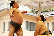 April 17th 2017, Tokyo, Japan;  Shokkiri, Sumo : Annual sumo tournament dedicated to the Yasukuni Shrine in Tokyo Japan.
