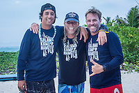 Kamp Kalama, Namotu Island Resort , Fiji. (Thursday November 5, 2015) David Boehne (USA),  Jason Shanks (USA)  and  Eric Toppenberg (USA) from Nikau kai surf shop. There were very light SE Trades early before they shifted to the South West and increased in strength mid morning. The swell was in the 2'-3' range with surf sessions at Namotu Lefts.  Lefts was the pick of the spots early with many of the Kampers out in the line up. Photo: joliphotos.com