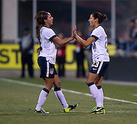 Sydney Leroux, Christen Press. The USWNT tied New Zealand, 1-1, at an international friendly at Crew Stadium in Columbus, OH.