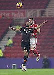 Ahmed Elmohamady of Hull City tussles in the air with Alvaro Negredo of Middlesbrough during the English Premier League match at Riverside Stadium, Middlesbrough. Picture date: December 5th, 2016. Pic Jamie Tyerman/Sportimage