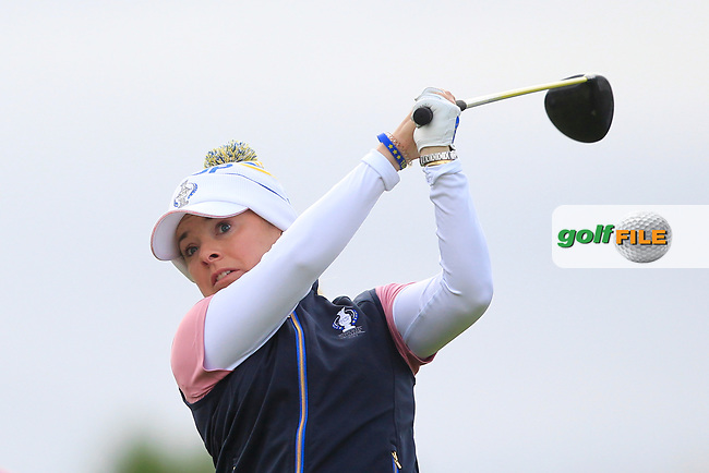 Bronte Law of Team Europe on the 9th tee during Day 2 Foursomes at the Solheim Cup 2019, Gleneagles Golf CLub, Auchterarder, Perthshire, Scotland. 14/09/2019.<br /> Picture Thos Caffrey / Golffile.ie<br /> <br /> All photo usage must carry mandatory copyright credit (© Golffile | Thos Caffrey)