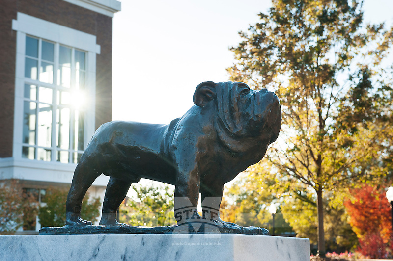 Colvard Union bulldog statue - fall leaves (photo by Megan Bean / © Mississippi State University)