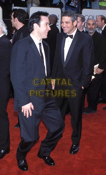 JOHN CUSACK & GEORGE CLOONEY .Golden Globe Awards 2001.Ref: 10304.full length, full-length.www.capitalpictures.com.sales@capitalpictures.com.© Capital Pictures