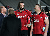 Crusaders captain Sam Whitelock with double centurion Wyatt Crockett after the Super Rugby match between the Crusaders and Highlanders at Wyatt Crockett Stadium in Christchurch, New Zealand on Friday, 06 July 2018. Photo: Martin Hunter / lintottphoto.co.nz