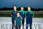 Enjoying the Ballydonoghue Night at the Dogs at the Kingdom Greyhound Stadium on Saturday were Jack O'Sullivan, Dylan Madden, Allan Foley, Brian O'Neil