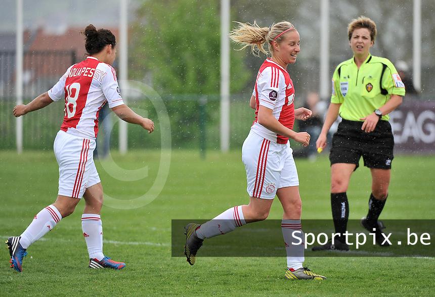 RSC Anderlecht Dames - Ajax Amsterdam : Mandy Versteegt met het doelpunt.foto DAVID CATRY / Nikonpro.be