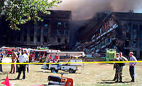 Sept 11, 2001, Washington, DC, United States<br /> <br /> Smoke and flames rose over the Pentagon at about 10 a.m. on Sept 11, 2002  following the crash of a American Airlines flight 77, from Dulles Airport , The Boeing 757  crashed into the side of the building after beeing hijack by terrorists.<br /> <br /> Part of the building hit collapsed; The building was evacuated, as were other federal buildings in the Capitol, including the White House. The number of casualties is unknown. The Pentagon's workday population is about 24,000. Updates will follow as they come available. Photos by Gerry J. Gilmore. (Released) <br /> <br /> <br /> (Mandatory Credit: U.S. Air Force photo -