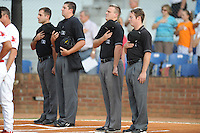 Appalachian League umpires before the first game of the 2011 Championship Series between the Bluefield Blue Jays and the Johnson City Cardinals at Howard Johnson Field on September 3, 2011 in Johnson City, Tennessee.  The Cardinals won the game 4-3.  (Tony Farlow/Four Seam Images)