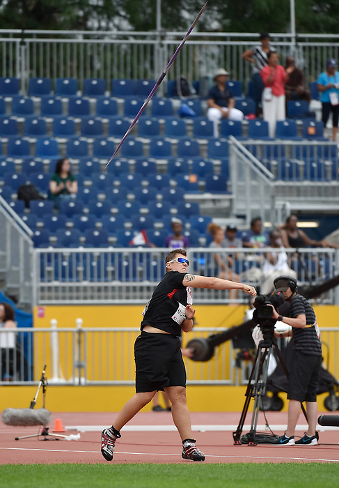 Toronto, ON - Aug 14 2015 - Ness Murby competes in the Women's Javelin Throw F11/12 Final in the CIBC Athletics Stadium during the Toronto 2015 Parapan American Games  (Photo: Matthew Murnaghan/Canadian Paralympic Committee)
