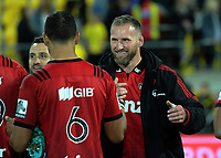Kieran Read congratulates Whetu Douglas after the Super Rugby match between the Hurricanes and Crusaders at Westpac Stadium in Wellington, New Zealand on Friday, 29 March 2019. Photo: Dave Lintott / lintottphoto.co.nz