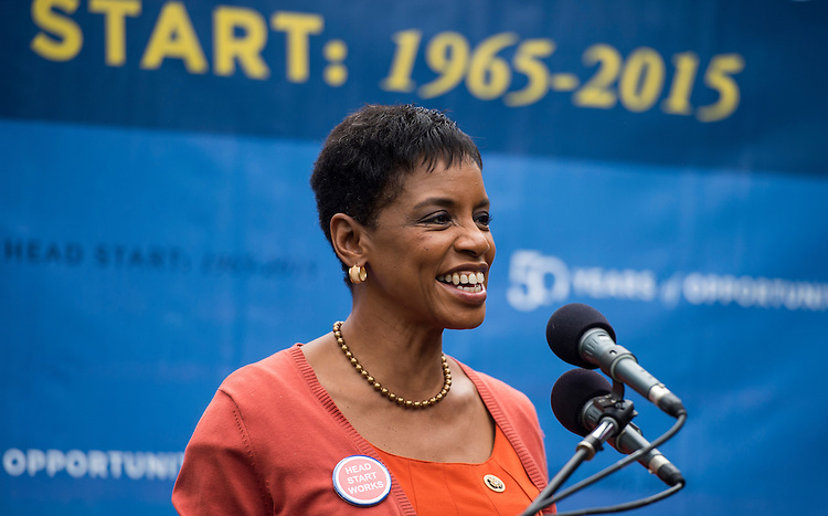 UNITED STATES - SEPTEMBER 30: Rep. Donna Edwards, D-Md., speaks during the National Head Start Association's 50th Anniversary rally for the Head Start program on the east side of the U.S. Capitol on Wednesday, Sept. 30, 2015. (Photo By Bill Clark/CQ Roll Call)