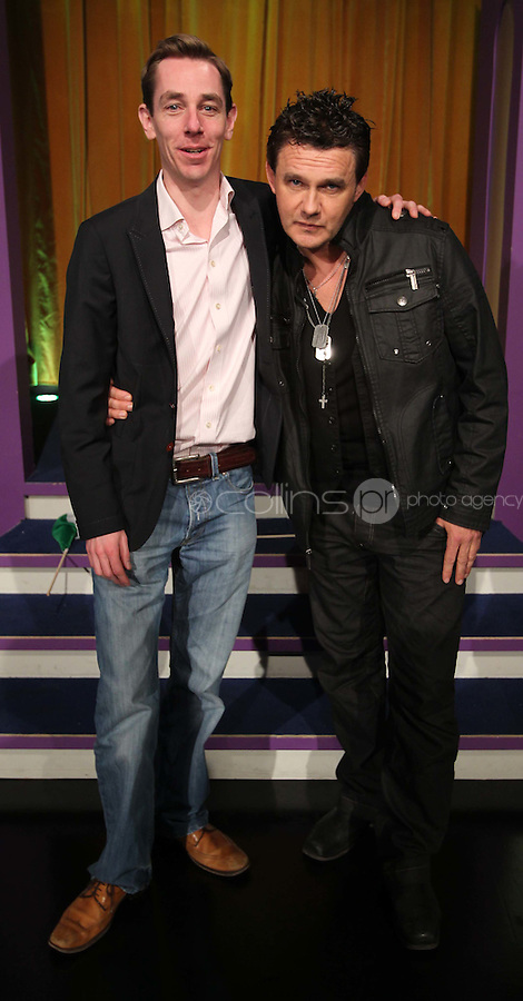 10/02/'11 Ryan Tubridy pictured this afternoon at RTE Studios with Don Mescall, one of  the five acts which make up this years hopefulls for Ireland's entry to the Eurosong 2011 Contest. The five acts will perform on tomorrow night's Late Late show ..Picture Colin Keegan, Collins, Dublin.