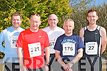 Competing in the Lee Strand/An Riocht 10 Miler road race in Castleisland on Sunday morning was l-r: Martin O'Connor Castleisland, Tim O'Leary Killarney, Gerard O'Sullivan Lisselton, William Griffin Tralee and Thomas Connolly Milltown..