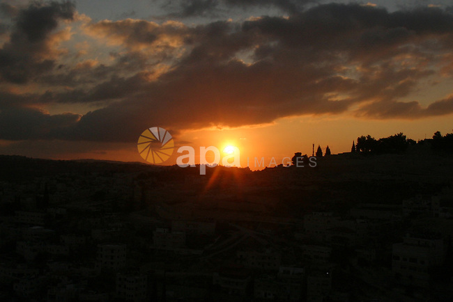 General veiw to the sunset the olives Mount, in Jerusalem's old city, on Jan. 18, 2012. Photo by Mahfouz Abu Turk