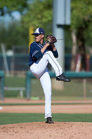San Diego Padres relief pitcher Noel Vela (54) delivers a pitch during an Instructional League game against the Los Angeles Dodgers at Camelback Ranch on September 25, 2018 in Glendale, Arizona. (Zachary Lucy/Four Seam Images)
