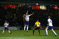 Ben Tozer of Newport County and Jan Vertonghen of Tottenham Hotspur contend for the aerial ball during the Fly Emirates FA Cup Fourth Round match between Newport County and Tottenham Hotspur at Rodney Parade, Newport, Wales, UK. Saturday 27 January 2018