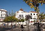 Historic buildings around the plaza in the town of Aracena, Sierra de Aracena, Huelva province, Spain