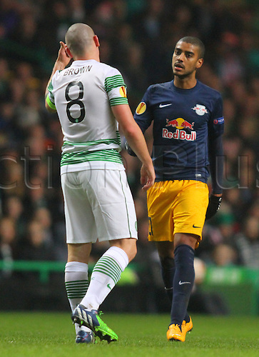 27.11.2014. Glasgow, Scotland. Europa League Group Stages Qualifying Round. Celtic versus FC Red Bull Salzburg. Scott Brown has words with Alan