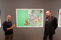 """Pictured L-R: Stefanos Rokos with Jim Sclavunos. Wednesday 03 April 2019<br /> Re: Press call before the opening of Stefanos Rokos' exhibition """"No More Shall We Part"""" with paintings based on the 2001 Nick Cave and The Bad Seeds album with the same title, Benaki Museum, Athens, Greece."""