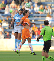 # 10 Carli Lloyd of the Chicago Red Stars and #10 Yael Averbach of Sky Blue FC on a mid field header.  Sky Blue FC beat the Red Star 2-0.