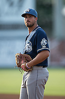 Asheville Tourists first baseman Josh Fuentes (21) on defense against the Kannapolis Intimidators at Intimidators Stadium on June 25, 2015 in Kannapolis, North Carolina.  The Intimidators defeated the Tourists 9-8.  (Brian Westerholt/Four Seam Images)