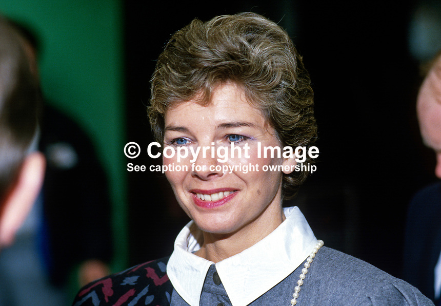 Bridget Nicholls, wife of Patrick Nicholls, MP, Conservative Party, UK, 19871008BN2.<br />