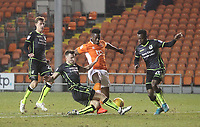 Blackpool's Armand Gnanduillet rus at the Bristol Rovers' defence<br /> <br /> Photographer Mick Walker/CameraSport<br /> <br /> The EFL Sky Bet League One - Blackpool v Bristol Rovers - Saturday 13th January 2018 - Bloomfield Road - Blackpool<br /> <br /> World Copyright &copy; 2018 CameraSport. All rights reserved. 43 Linden Ave. Countesthorpe. Leicester. England. LE8 5PG - Tel: +44 (0) 116 277 4147 - admin@camerasport.com - www.camerasport.com