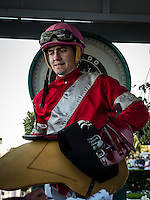 OLDSMAR, FLORIDA - FEBRUARY 11: Brian Joseph Hernandez (pink hat), getting weighed, after he wins the Sam F. Davis Stakes, and sets a new track record at Tampa Bay Downs on February 11, 2017 in Oldsmar, Florida (photo by Douglas DeFelice/Eclipse Sportswire/Getty Images)