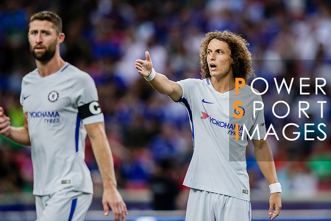 Chelsea Defender David Luiz gestures during the International Champions Cup 2017 match between FC Internazionale and Chelsea FC on July 29, 2017 in Singapore. Photo by Marcio Rodrigo Machado / Power Sport Images