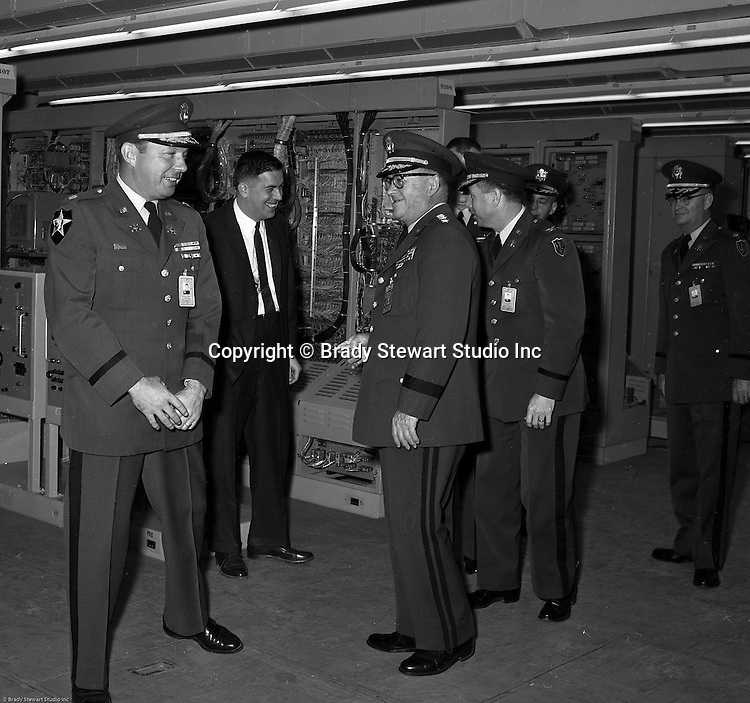 Pittsburgh PA:  US Army Chief of Staff George H Decker and his staff touring the Oakdale PA NIKE facility - 1962.<br />