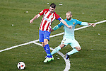 Atletico de Madrid's Gabi Fernandez (l) and FC Barcelona's Javier Mascherano during Spanish Kings Cup semifinal 1st leg match. February 01,2017. (ALTERPHOTOS/Acero)