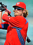 3 March 2011: Washington Nationals' outfielder Jayson Werth warms up prior to a Spring Training game against the St. Louis Cardinals at Roger Dean Stadium in Jupiter, Florida. The Cardinals defeated the Nationals 7-5 in Grapefruit League action. Mandatory Credit: Ed Wolfstein Photo