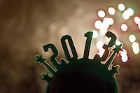 NEW YORK - MANHATTAN 01/01/2013 - CAPODANNO A NEW YORK. NELLA FOTO FUOCHI D'ARTIFICIO, PER L'ARRIVO DEL NUOVO ANNO, A TIME SQUARE .FOTO DILORETO ADAMO