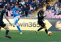 Piotr Zielinski of Napoli shoots and scores during the  italian serie a soccer match,  SSC Napoli - Frosinone       at  the San  Paolo   stadium in Naples  Italy , December 08, 2018