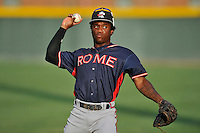 Shortstop Anfernee Seymour (27) of the Rome Braves warms up before a game against the Greenville Drive on Tuesday, August 30, 2016, at Fluor Field at the West End in Greenville, South Carolina. Greenville won, 7-3. (Tom Priddy/Four Seam Images)