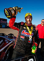 Oct 29, 2017; Las Vegas, NV, USA; NHRA pro stock driver Greg Anderson celebrates after winning the Toyota National at The Strip at Las Vegas Motor Speedway. Mandatory Credit: Mark J. Rebilas-USA TODAY Sports