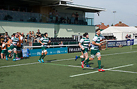 Players coming out for the 2019/20 Pre Season Friendly match between Ealing Trailfinders and Bishop's Stortford at Castle Bar , West Ealing , England  on 24 August 2019. Photo by Alan  Stanford / PRiME Media images
