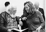 """King Lear"" rehearsed reading rehearsals. Old Vic Theatre. Director: Jonathan Miller. Joss Ackland and Greta Scacchi."