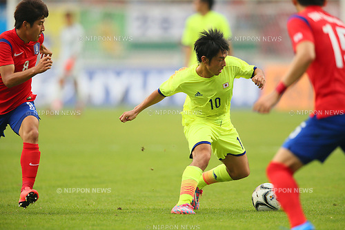 Shoya Nakajima (JPN), <br /> SEPTEMBER 28, 2014 - Football / Soccer : <br /> Men's Quarter-final   <br /> between Korea - Japan <br /> at Munhak Stadium <br /> during the 2014 Incheon Asian Games in Incheon, South Korea. <br /> (Photo by Yohei Osada/AFLO SPORT) [1156]