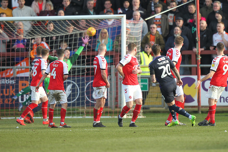 Luton Town's George Moncur scores his sides first goal   beating Fleetwood Town's Alex Cairns<br /> <br /> Photographer Mick Walker/CameraSport<br /> <br /> The EFL Sky Bet League One - Fleetwood Town v Luton Town - Saturday 16th February 2019 - Highbury Stadium - Fleetwood<br /> <br /> World Copyright © 2019 CameraSport. All rights reserved. 43 Linden Ave. Countesthorpe. Leicester. England. LE8 5PG - Tel: +44 (0) 116 277 4147 - admin@camerasport.com - www.camerasport.com